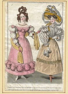"French Fashion Plate - c1850 - """"ROBE A LA PHILHELLENE"""" - H-C Lithograph"