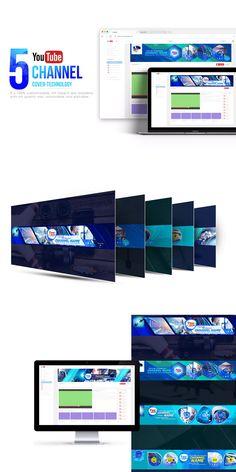 5 Tech Channel - Youtube Banners Template PSD #unlimiteddownloads Tech Branding, Tech Logos, Tech Tech, Tech Art, Youtube Banner Template, Youtube Banners, Tech Hacks, Tech Gadgets, Website Layout Template
