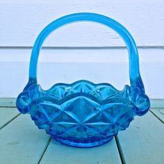 Indiana Glass  Monticello Basket in Horizon Blue by Lovettsville