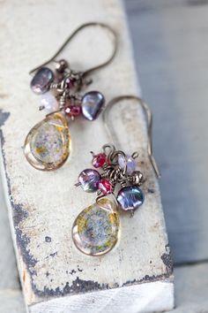 Freshwater Pearl earrings unique raspberry by beesandbuttercups - Love! ♥