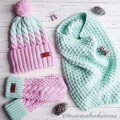 Kapa,šal in rokavice čudovite Loom Knitting, Baby Knitting, Knitting Patterns, Crochet Patterns, Knit Beanie Hat, Crochet Beanie, Sombrero A Crochet, Hat And Scarf Sets, Crochet Art