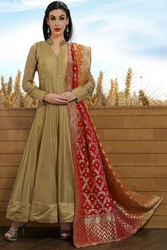 Tan Raw Silk Mirror Embroidered Designer Salwars-SL8391 - Buy Online  #salwar #samyakk #gown #anarkali #circular #aline #rawsilk #designer #mirrorwork #brown
