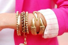 I have a pink blazer.  I have gold bracelets.  I should put them together.