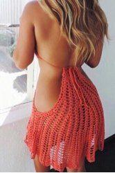 Sexy Halter Crochet Openwork Dress For Women