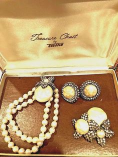 "Vintage Mariam Haskell 1950's ""signed"" bracelet, earrings, pin #MariamHaskell"