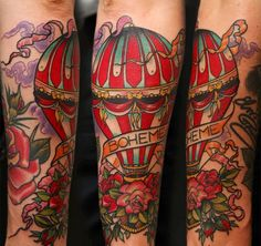 Vintage hot air balloon tattoo