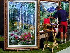 Kevin Miles painting in Aspen, Colorado.