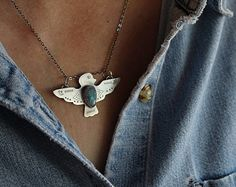 Thunderbird Necklace   Turquoise and Solid Sterling Silver w/ Solid Italian Sterling Silver Chain   thunderbirds, native jewelry, birds