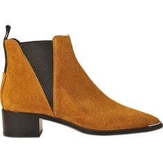 Acne Studios Jensen suede boots (€470) ❤ liked on Polyvore featuring shoes, boots, ankle booties, brown, brown flats, brown suede booties, suede booties, brown ankle booties and brown suede boots
