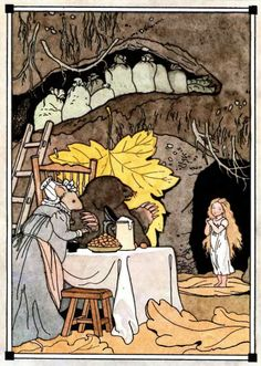 Thumbelina visits Mrs Mouse and Mr Mole. They have their winter food stored away. H. C. Andersen story illustrated by Boris Bekhterev.
