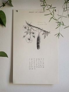 2012 Flowers + Feathers Calendar from the Wild Unknown (hand-drawn botanicals + feathers w/snippets of song lyrics from joni mitchell + cat stevens + others)