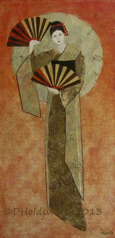 Donna Holdsworth Contemporary Art Geisha Mixed Media on canvas
