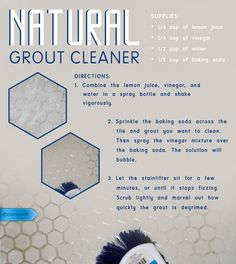 This 3-ingredient natural mixture fizzes out deep grout stains without hard scrubbing or chemicals.  #SaveMoney #DIYHome #HouseholdTips # #NaturalCleaner #BakingSodaVinegar