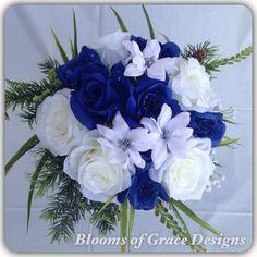 Bouquet de mariée bleu royal prêt à par BloomsofGraceDesigns
