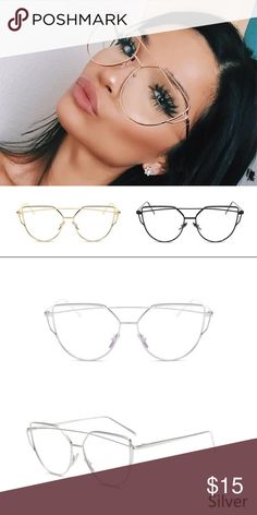 Silver framed glasses Only available in silver! Modern cat eye wire frame glasses, the nose pieces are adjustable to provide the best fit! Fashion glasses only, not meant for a prescription Accessories Glasses