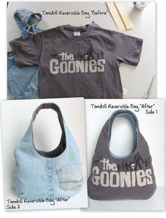"""Reversible Goonies Bag """"Before"""" & """"After"""" DIY Bag and Purse Sewing Clothes, Diy Clothes, Diy Sac, Diy Bags Purses, Denim Crafts, Recycled Denim, Recycled Shirts, Old Jeans, Old T Shirts"""