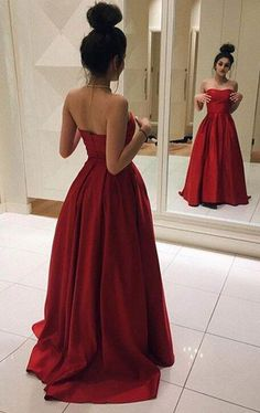 Elegant Red Satin Prom Dress, Ball Gown, Red