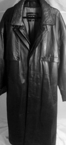 Black Patchwork Leather Trench Coat, Men's Size Small | Coats ...