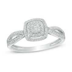 1/5 CT. T.W. Composite Diamond Frame Promise Ring in 10K White Gold