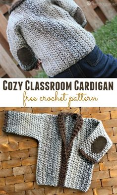Crochet Cardigan Cozy Classroom Cardigan crochet pattern - Now that we are two sizes into this NEW cardigan series, I'm feeling more and more excited. Isn't this new 12 month cardigan just adorable? Crochet Toddler Sweater, Crochet Baby Sweaters, Black Crochet Dress, Crochet Cardigan Pattern, Crochet Baby Clothes, Crochet For Boys, Baby Knitting, Free Crochet, Crochet Patterns