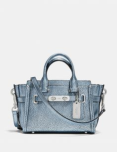 Coach Cross-body Swagger 20 Carryall In Metallic Tipped Pebble Leather
