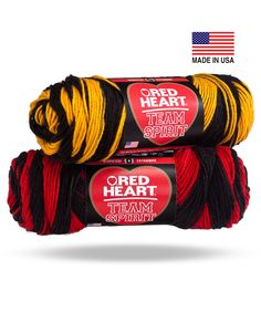 Go Team!  Two color striping yarn perfect for supporting your favorite teams! #redheartyarn