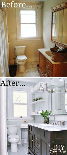 DIY Show Off Tiny Bath Makeovers Lots of Tips, Tutorials and Before and Afters! Including, from 'diy showoff', this gorgeous bathroom makeover. Home Staging, Bathroom Renos, Bathroom Renovations, Bathroom Ideas, Remodel Bathroom, Budget Bathroom, Bathroom Designs, Diy Bathroom Reno, Bathroom Organization