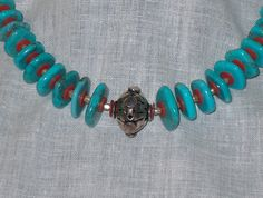 Turquoise Necklace with Bali Focal Bead and Vintage by BeverlyCo, $65.00