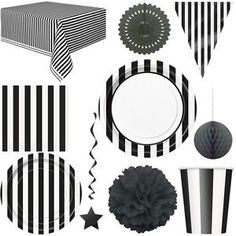 Black Stripes Party White Deco Disposable Tableware Birthday Party Decoration in … - Home Page Birthday Surprise Kids, Girls 3rd Birthday, Cheap Party Decorations, Birthday Party Decorations, Drink Display, Black White Parties, Ebay, Black Stripes, Idea Box