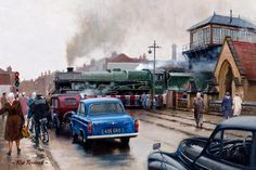 Artist Rob Rowland - Member of the Guild of Railway Artists.'Jubilee' class Eire passes Barton Street Junction, Gloucester in the early Uk Rail, Old Steam Train, Nostalgic Art, Henri Rousseau, Steam Railway, Train Times, Train Art, Railway Posters, Train Pictures