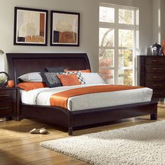 The fluid movement of nature and design are showcased in Tangerine 365 Amaretto Bedroom Collection by Pulaski Furniture. Floating concave drawer overlays combined with the curved, shaped bed create a sleek, sensuous, urban style. Smokey, nickel hardware compliments the flowing curves and unique movement of the group. In addition to this avant-garde style statement, the collection features multi-functional design elements including media storage, electronic charging capabilities and added…