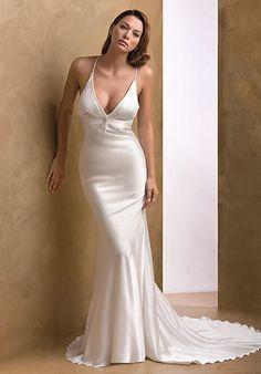 Satin simple wedding dress