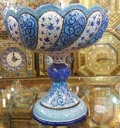 Persian Mina Enamel Copper Fruit Bowl