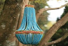 Beaded Chandelier - Turquoise - From Antiquefarmhouse.com - http://www.antiquefarmhouse.com/beaded-chandelier-blue.html