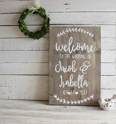 Welcome your wedding guests to your wedding with this rustic and personalised wedding sign. This beautiful rustic wedding sign is a wonderful decor option for a rustic, boho or outdoor wedding. Wooden Wedding Signs, Wedding Signage, Rustic Signs, Wooden Signs, Wedding Reception, Wedding Day, Wedding Summer, Welcome To Our Wedding, Wedding Invitations