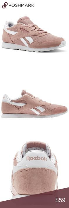 af18f2406d2 FIRM   NIB REEBOK pink royal sneakers 8 brand new in box beautiful muted    dusty pink. with polka dot pattern print lining TTS PRICE IS FIRM Reebok  Shoes ...