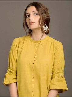 Mustard Yellow Khadi High Low Kurta