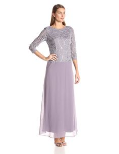 a9349f18af Alex Evenings Women s Long Mock Dress with Bodice and Illusion 3 4 Sleeves  at Amazon