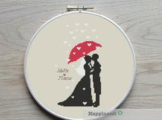 A modern wedding pattern, bride and groom raining love.  PLEASE NOTE : This is a Do-It-Yourself Customizable pattern. It can be personalized with