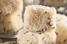 From the YOU kitchen: Ultimate white chocolate lamingtons My Recipes, Sweet Recipes, Cookie Recipes, Dessert Recipes, Favorite Recipes, Recipies, Desserts, Ma Baker, South African Recipes