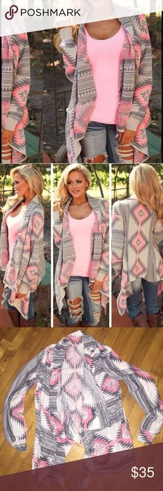 BEAUTIFUL PINK AZTEC CARDIGAN TOP!! Compfortable and warm. SUPER trendy and popular!! It is a thicker shirt material Sweaters Cardigans