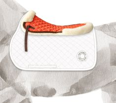 Doudou Hermes shock absorbing pad in minium and chocolate, 100% cotton, natural sheepskin lining, one size PLEASEE