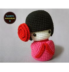 Amigurumi kokeshi no pattern Amigurumi Patterns, Amigurumi Doll, Knitting Patterns, Crochet Patterns, Peyote Patterns, Knitted Dolls, Crochet Dolls, Crochet Crafts, Crochet Projects