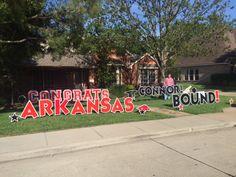 CONGRATS CONNOR! ARKANSAS BOUND! Graduation made more fun with DYG! Graduation Yard Signs, Arkansas, More Fun, Dallas, Parties, Glitter, Neon Signs, Places, Christmas