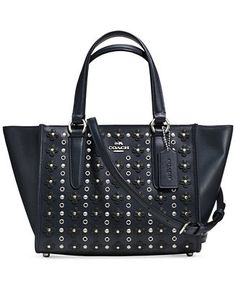 COACH MINI CROSBY CARRYALL IN FLORAL RIVETS LEATHER - Handbags & Accessories - Macy's