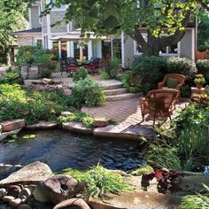 flowersgardenlove:  patio & pond Beautiful