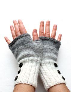 Dark Grey Arm Warmer Knitting Fingerless Gloves   by gloveshop e1285fb388b