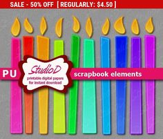50% SALE Candle clipart Digital scrapbook elements digiscrap rainbow neon clipart digiital images birthday clipart printable embelli... by StudioDprint