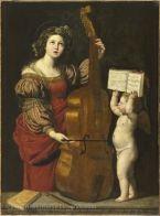 Domenico ZAMPIERI, dit LE DOMINIQUIN (Bologne, 1581 - Naples, 1641)  Sainte Cécile avec un ange tenant une partition  Vers 1617 - 1618  H. : 1,60 m. ; L. : 1,20 m.  Collection de Louis XIV (acquis en 1662)