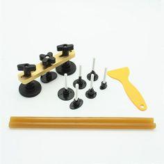 Car Paint less Hail Repair PDR Dent Pulling Lifter Glue Removal Tools Kit With 7 PCs Glue Tabs Remover Kit 2 PC Glue Sticks Car Shovel